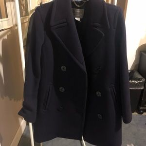 JCrew Long Navy Peacoat